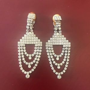 Vintage deco rhinestone chandelier earrings